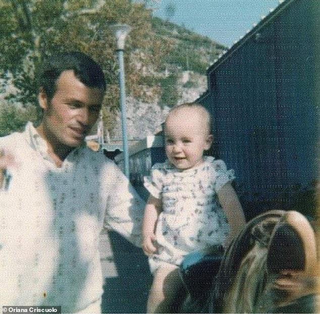 Oriana Criscuolo cuando pequeña con su padre