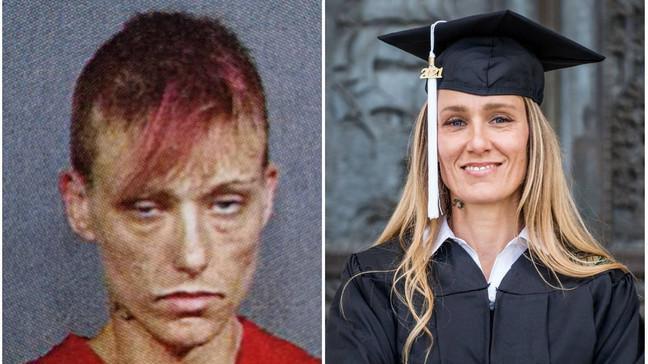 El inspirador antes y después de una madre que dejó las drogas y se graduó con honores